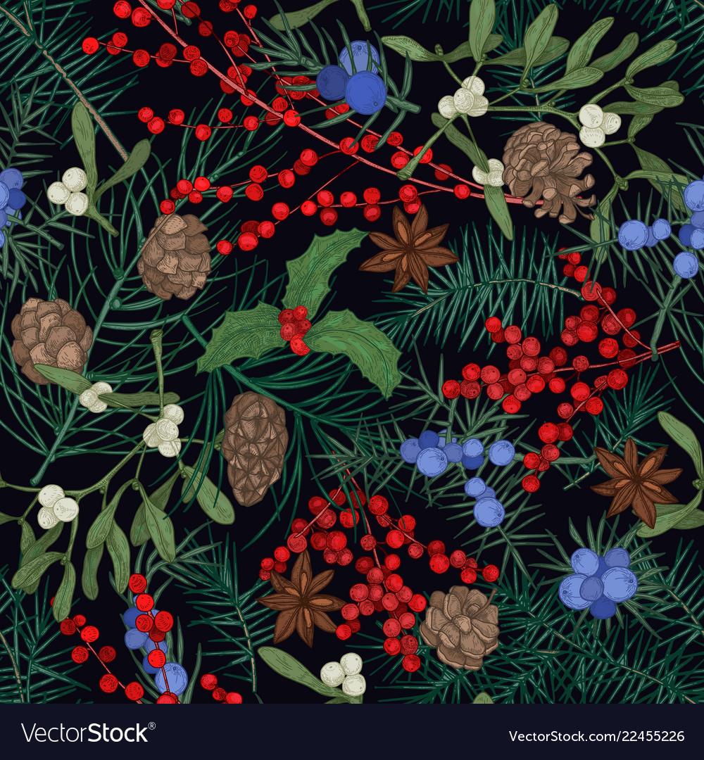 Elegant seamless pattern with winter seasonal