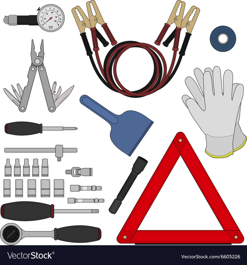 Emergency car kit Color vector image