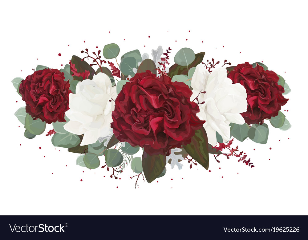 Floral bouquet design with garden red rose flowers