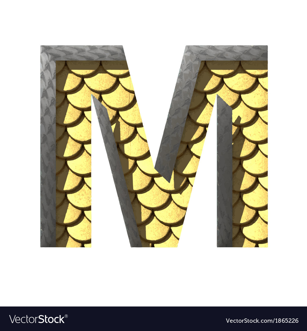 Golden cutted figure m Paste to any background vector image