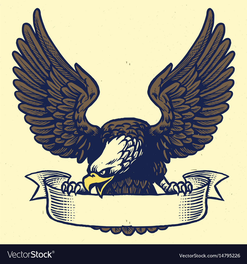 Hand drawing style of eagle grip the ribbon vector image