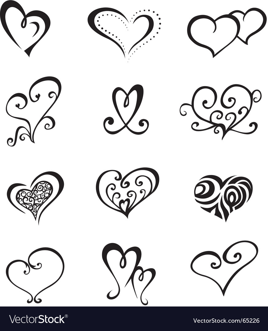 Heart shaped vector decorative elements for design or tattoo. Keywords: