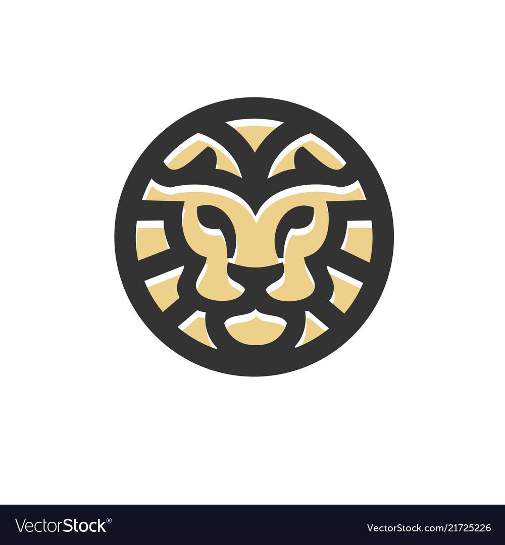 Lion head circle bold line flat style business