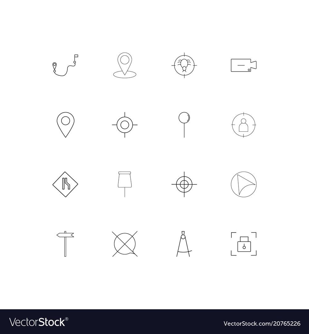 Maps and navigation linear thin icons set