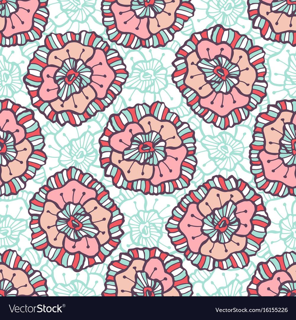 Ornamental Floral Pattern Boho Background For Vector Image