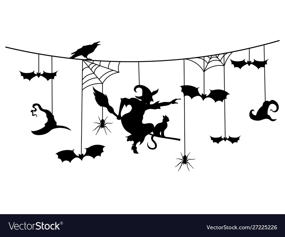 Paper garland for halloween with mystical