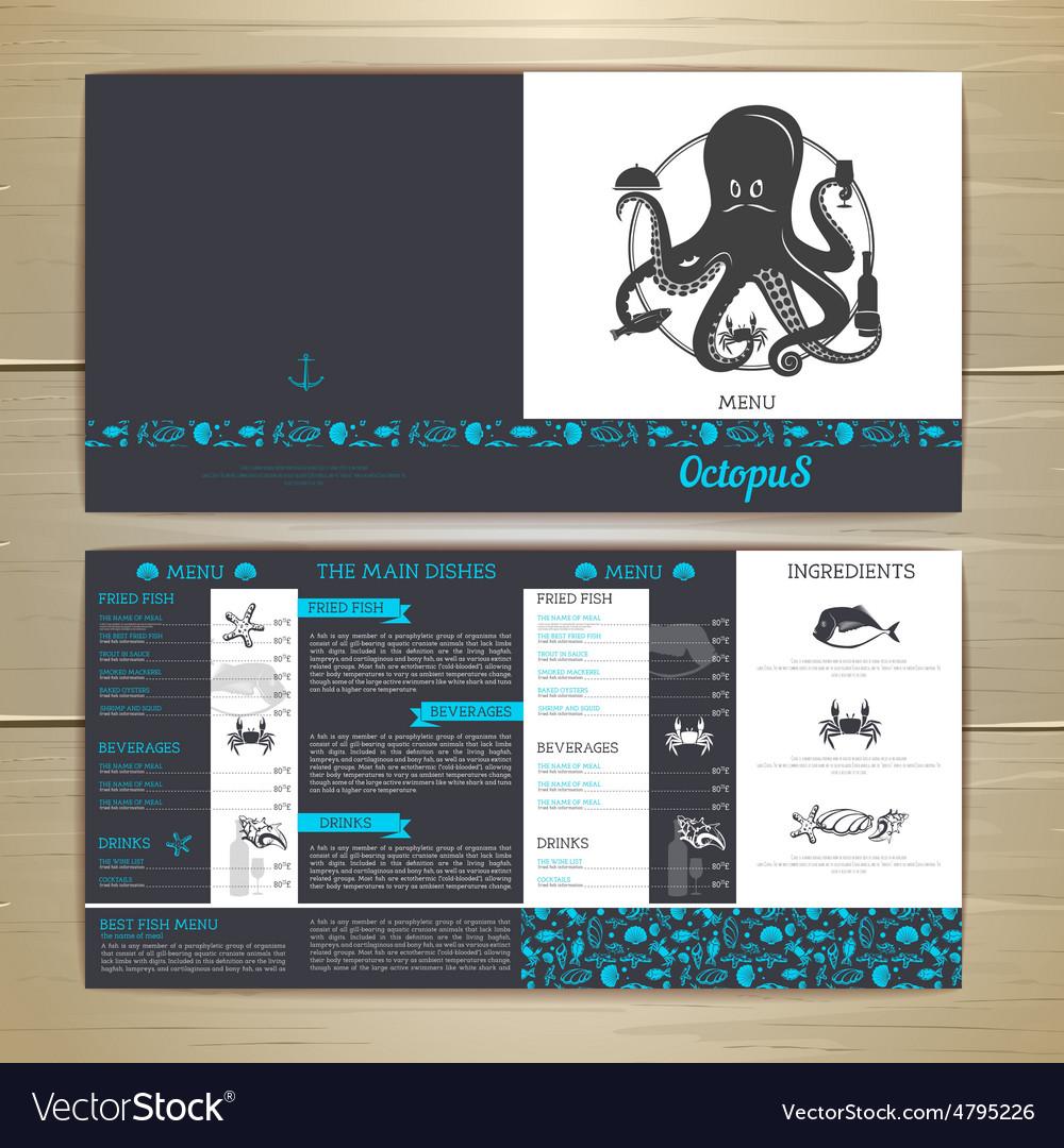Seafood cafe menu design with octopus