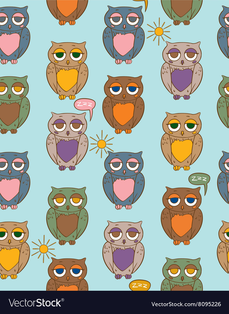 Seamless Pattern with Sleepy Color Owls on a Sunny
