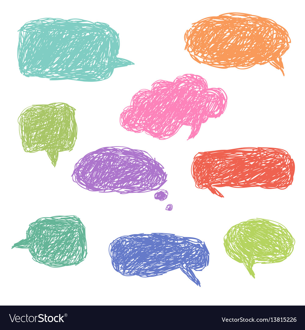 Set of blank colorful hand drawn speech bubbles