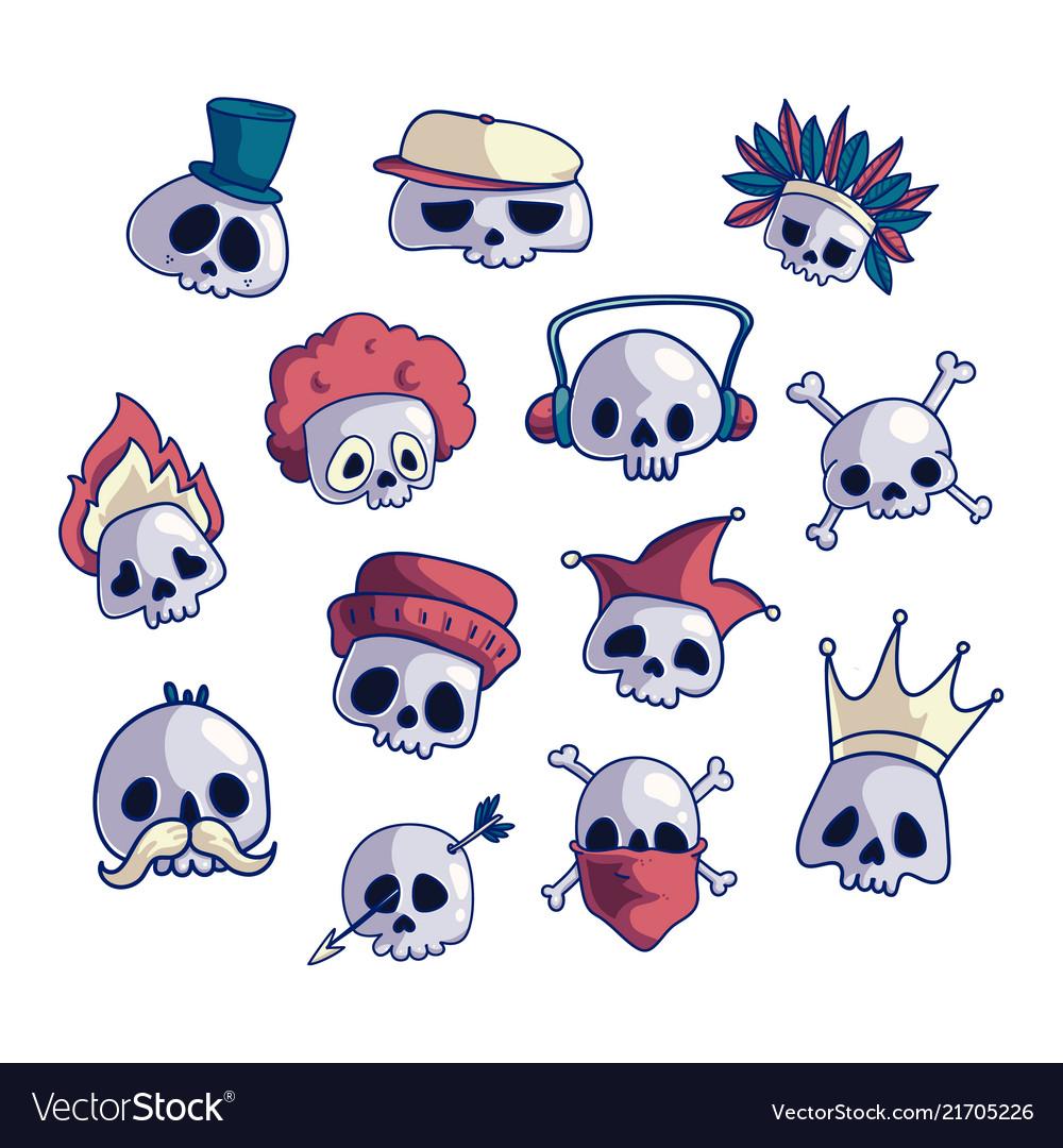 Set of cartoon skull characters
