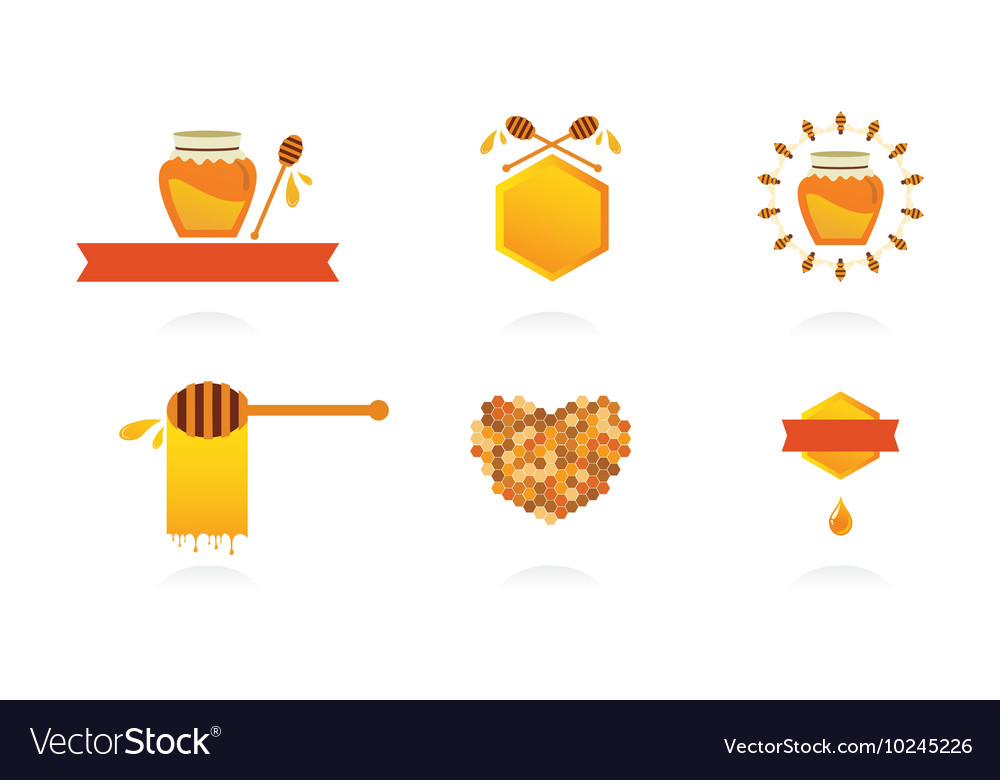 Set of honey labels icons and design elements