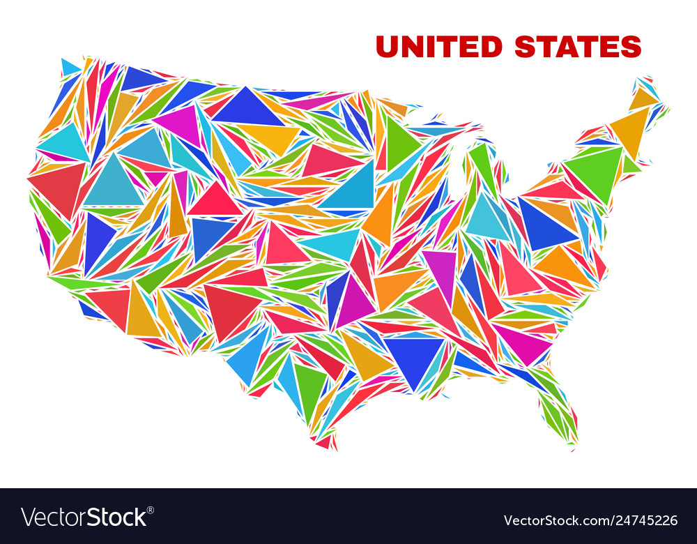 United states map - mosaic color triangles Vector Image