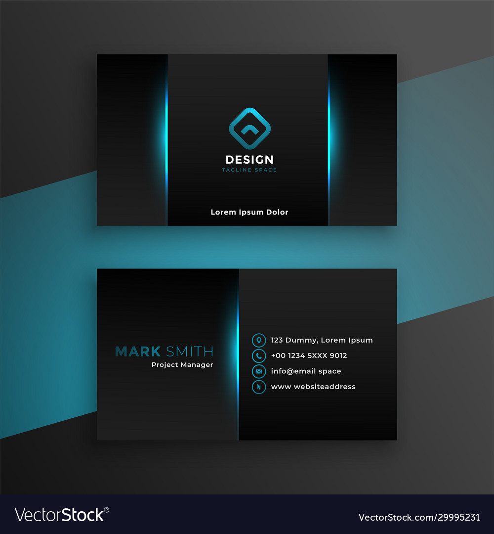 Abstract black business card design with blue