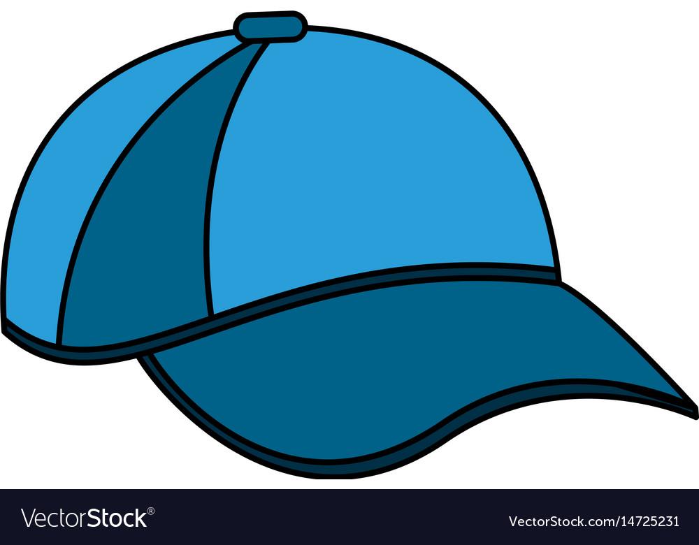 Color Image Cartoon Blue Sport Cap Headwear Vector Image