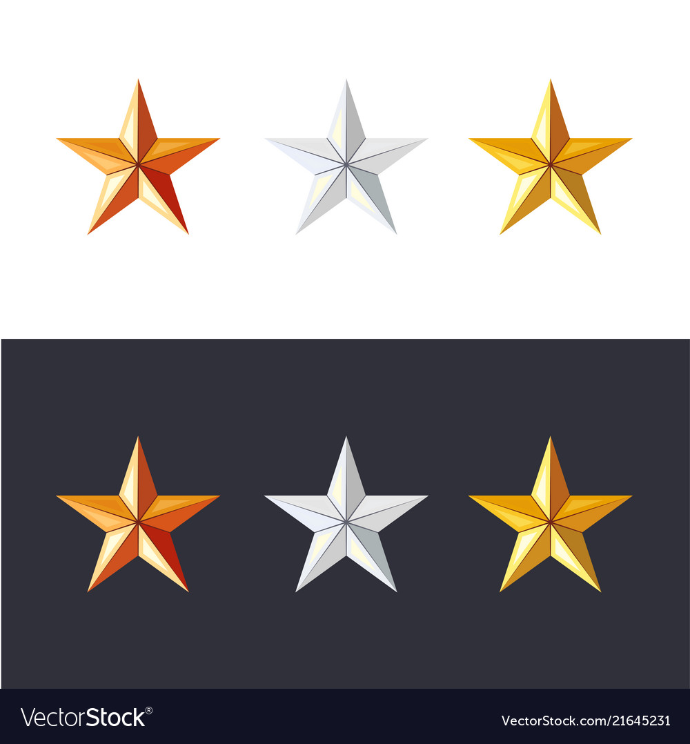Golden silver and bronze stars set game