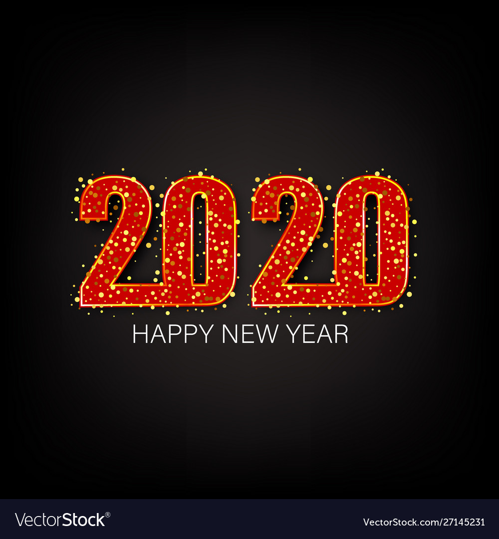 Happy new year 2020 gold shiny glitter glowing