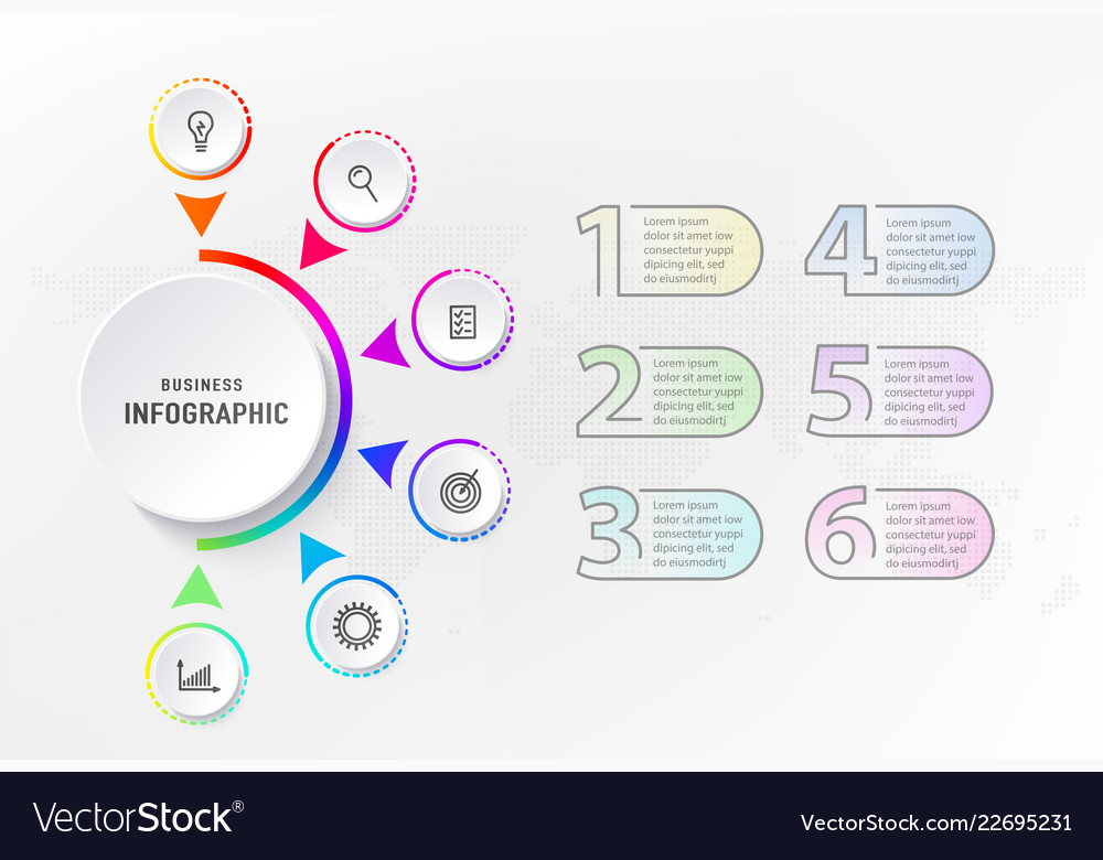 Infograph 6 steps element diagram process with