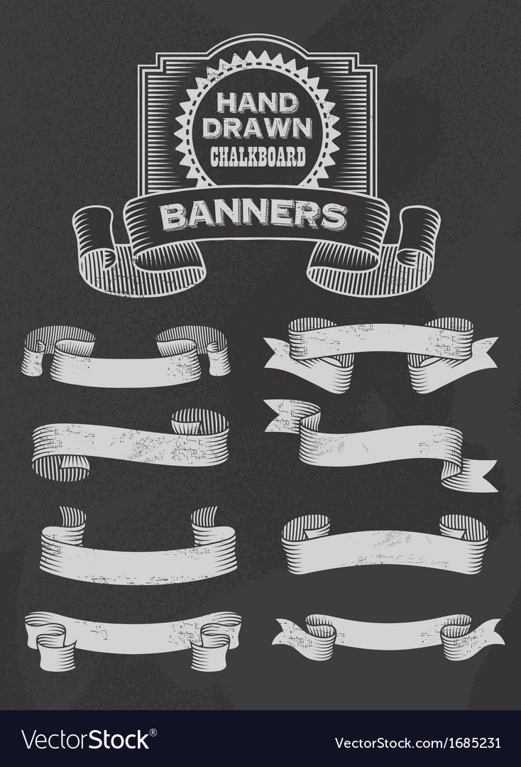 Retro Chalkboard Banner and Ribbon Design Set