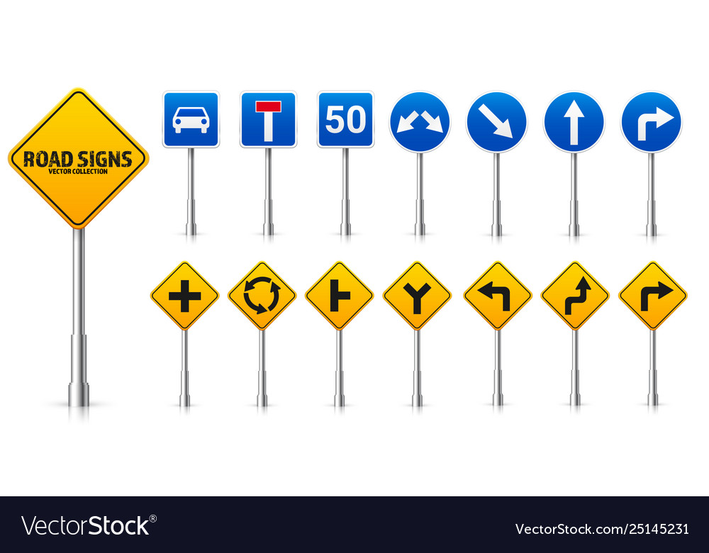 Road highway regulatory signs set traffic control