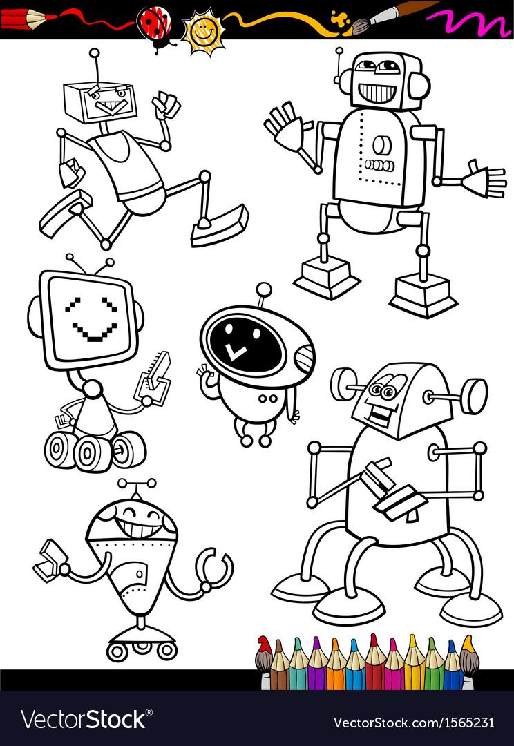 Robots Cartoon Set For Coloring Book Vector Image