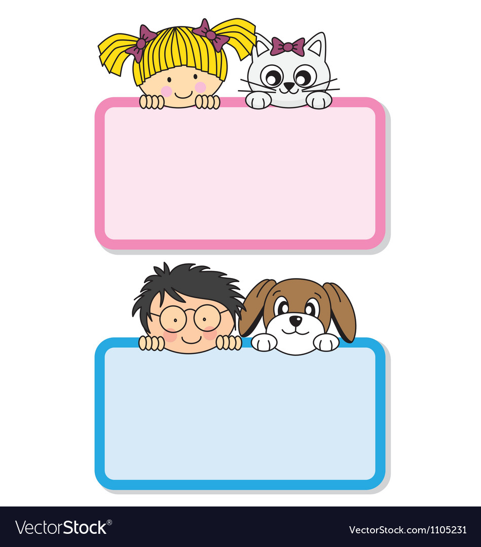 Setting children with their pets vector image