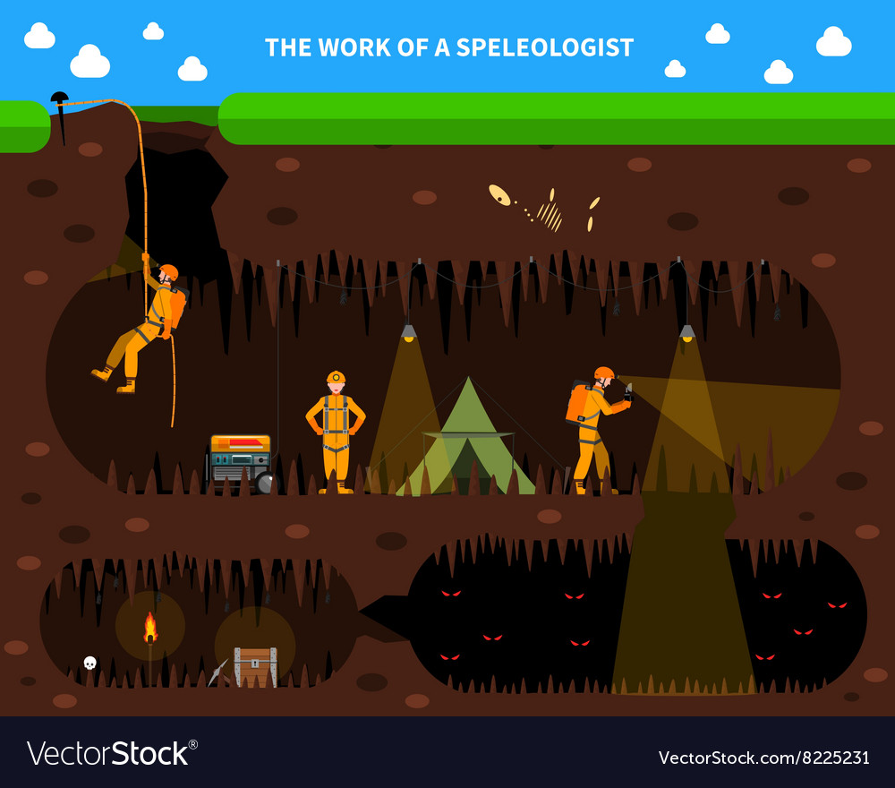 Speleologists Cave Exploration Flat Background