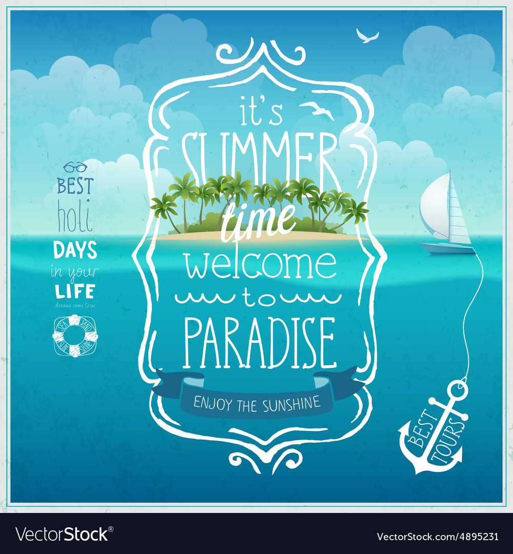 Summer time poster with tropical background