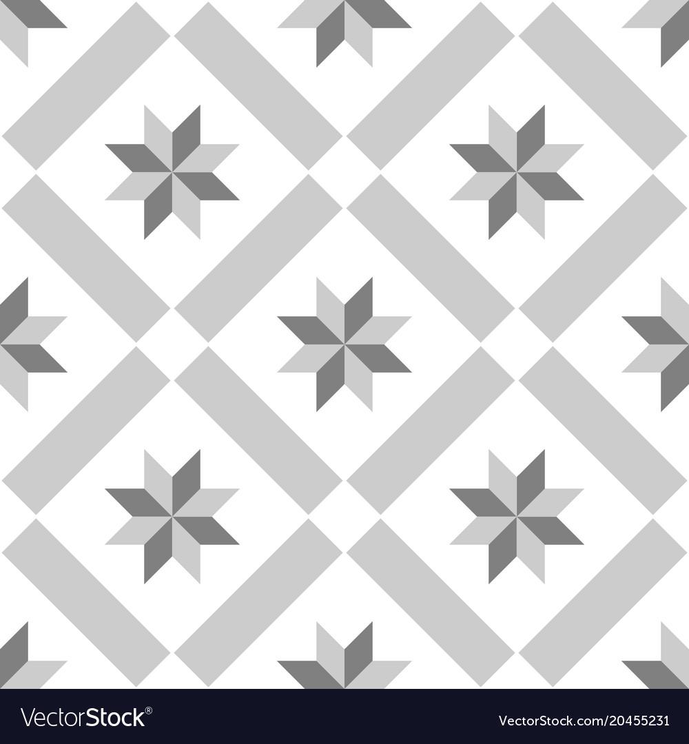 White Decorative Floor Tiles Vector Image