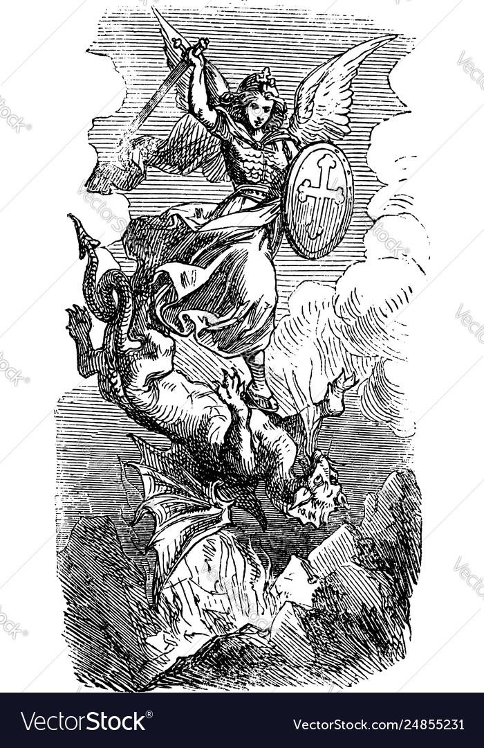 Vintage drawing biblical archangel michael