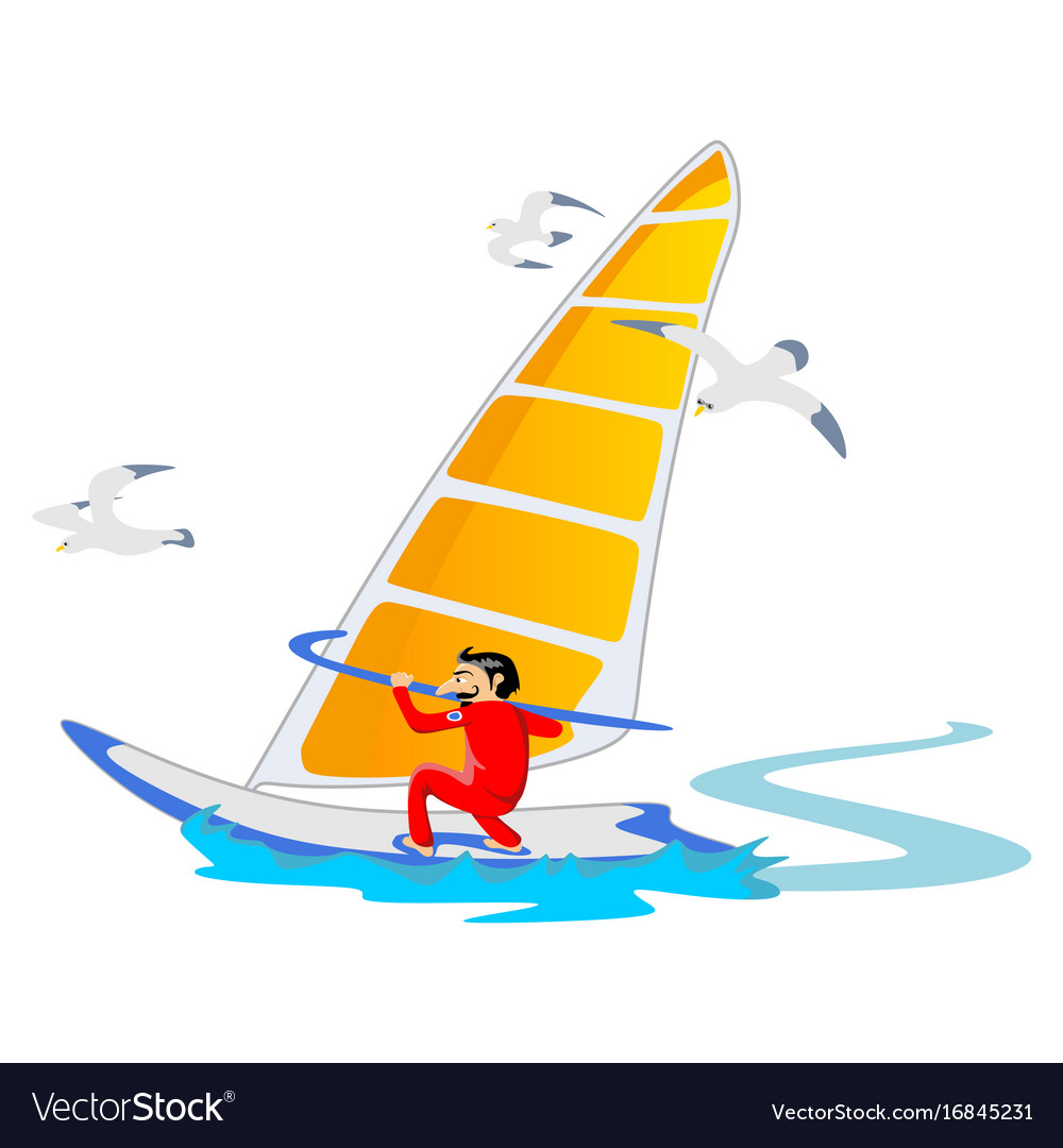 Windsurfing water extreme sports isolated design