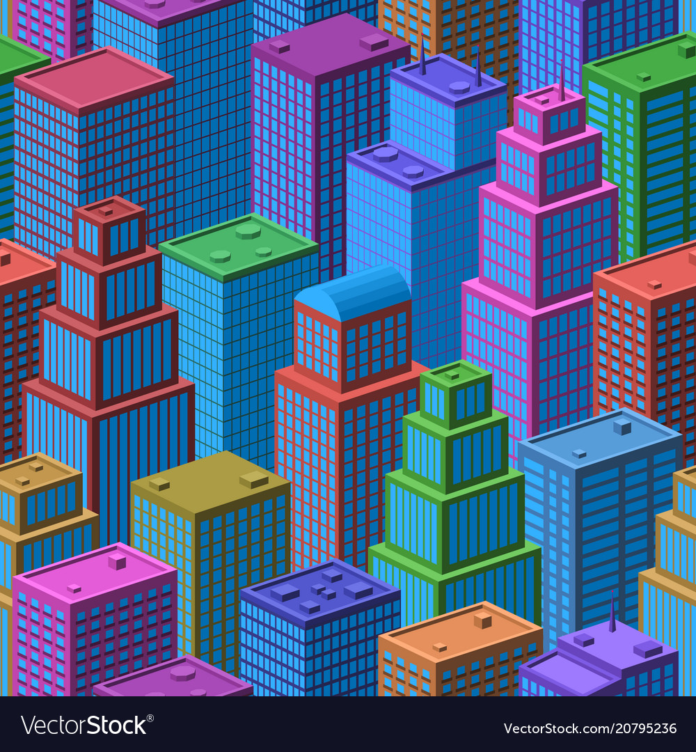 3d isometric city seamless background