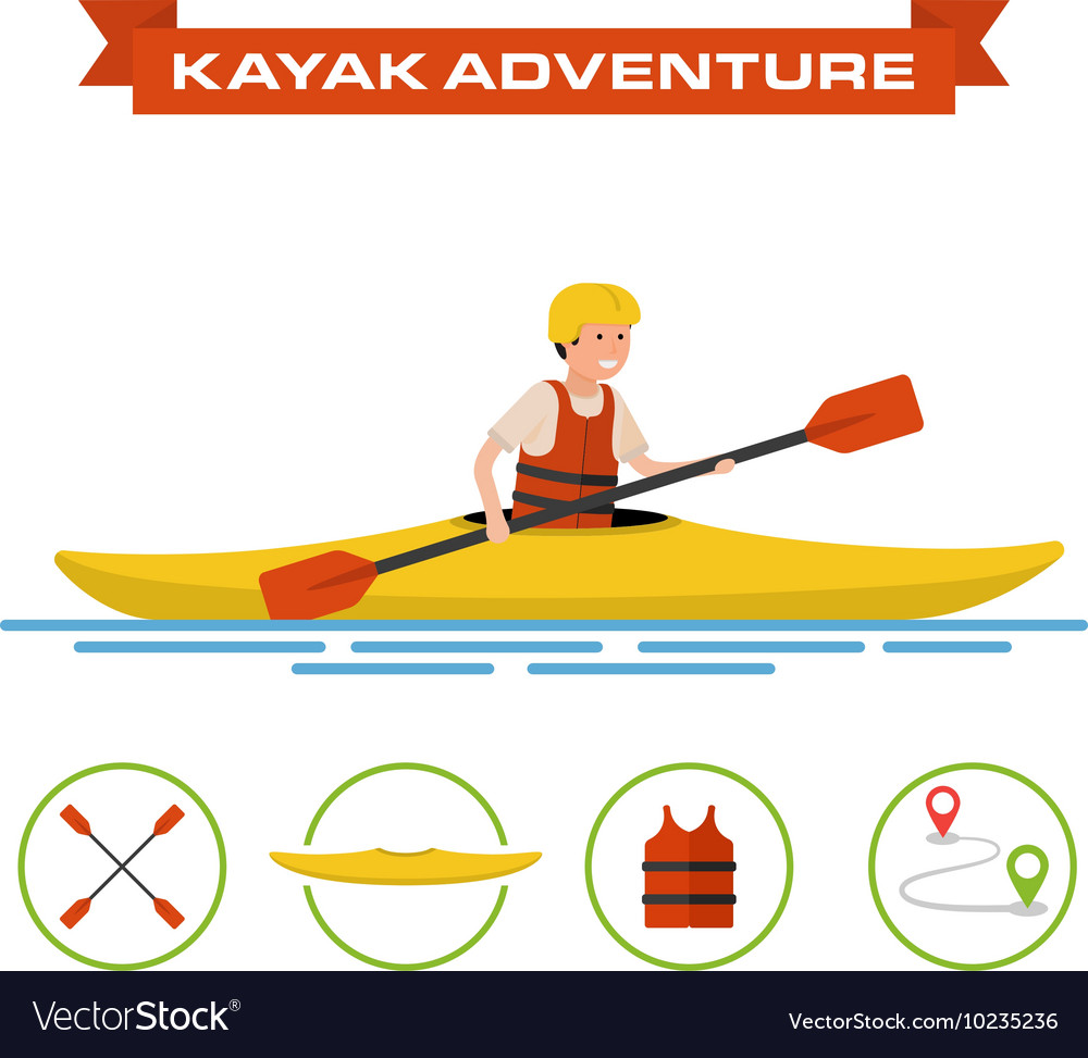A cartoon kayaker