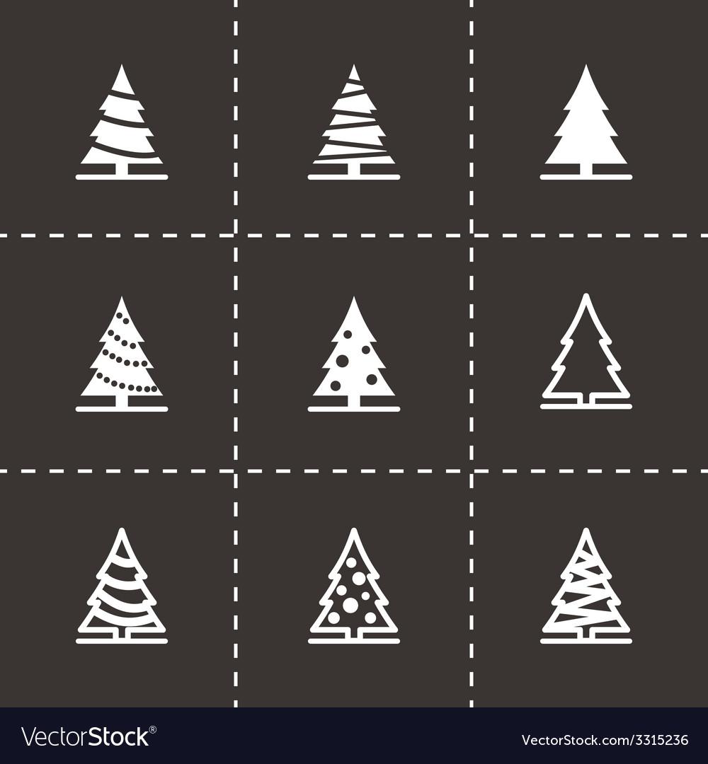 Black christmas tree icon set