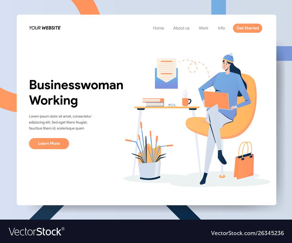 Businesswoman working on desk concept modern