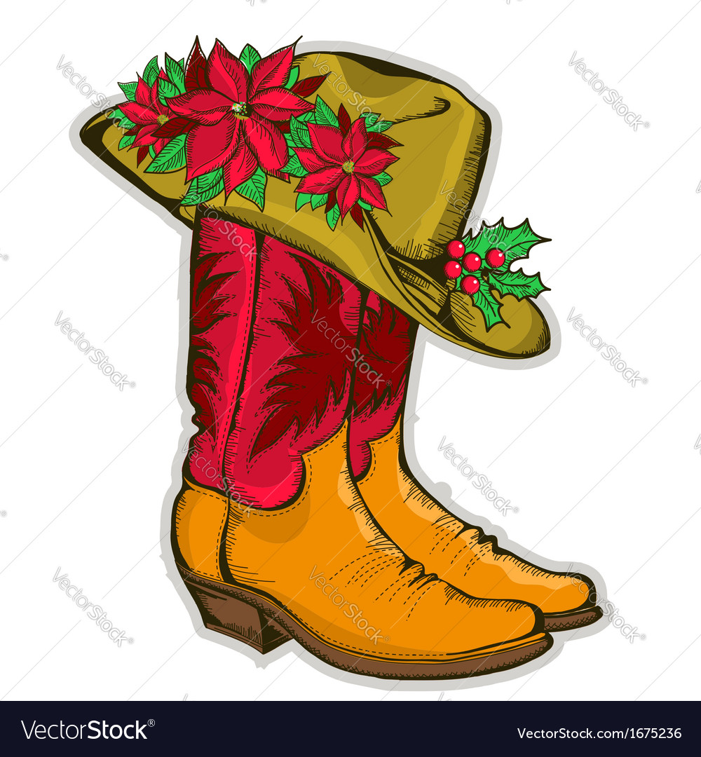 Christmas Cowboy boots and western hat with vector image