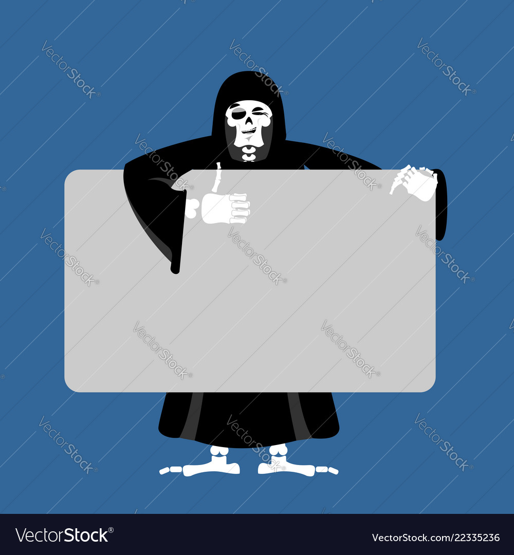 Grim reaper holding banner blank death and white