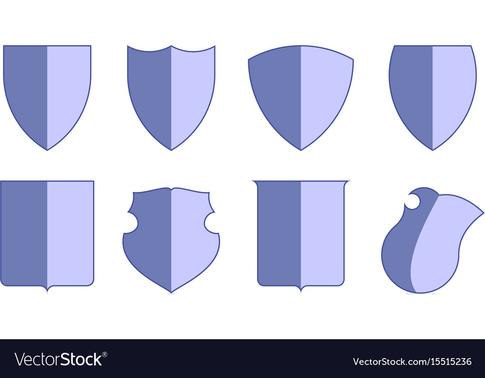 Heraldic escutcheons for coat of arms set shield