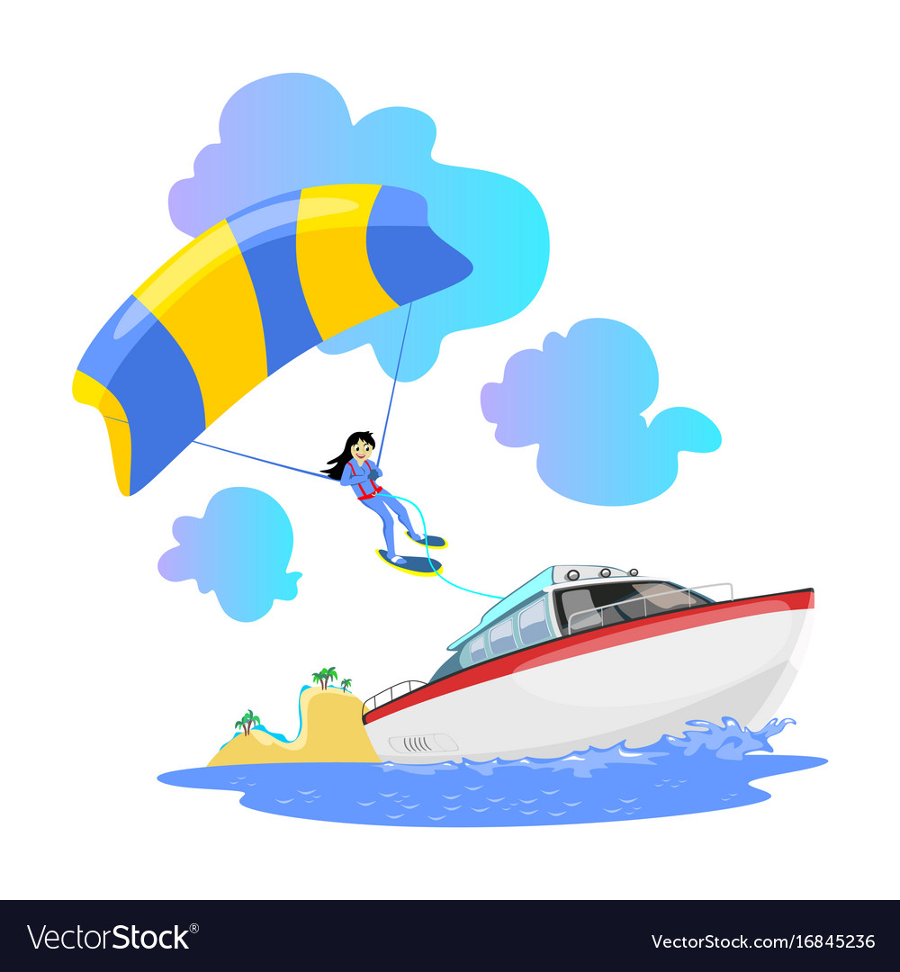 Parasailing water extreme sports backgrounds vector image