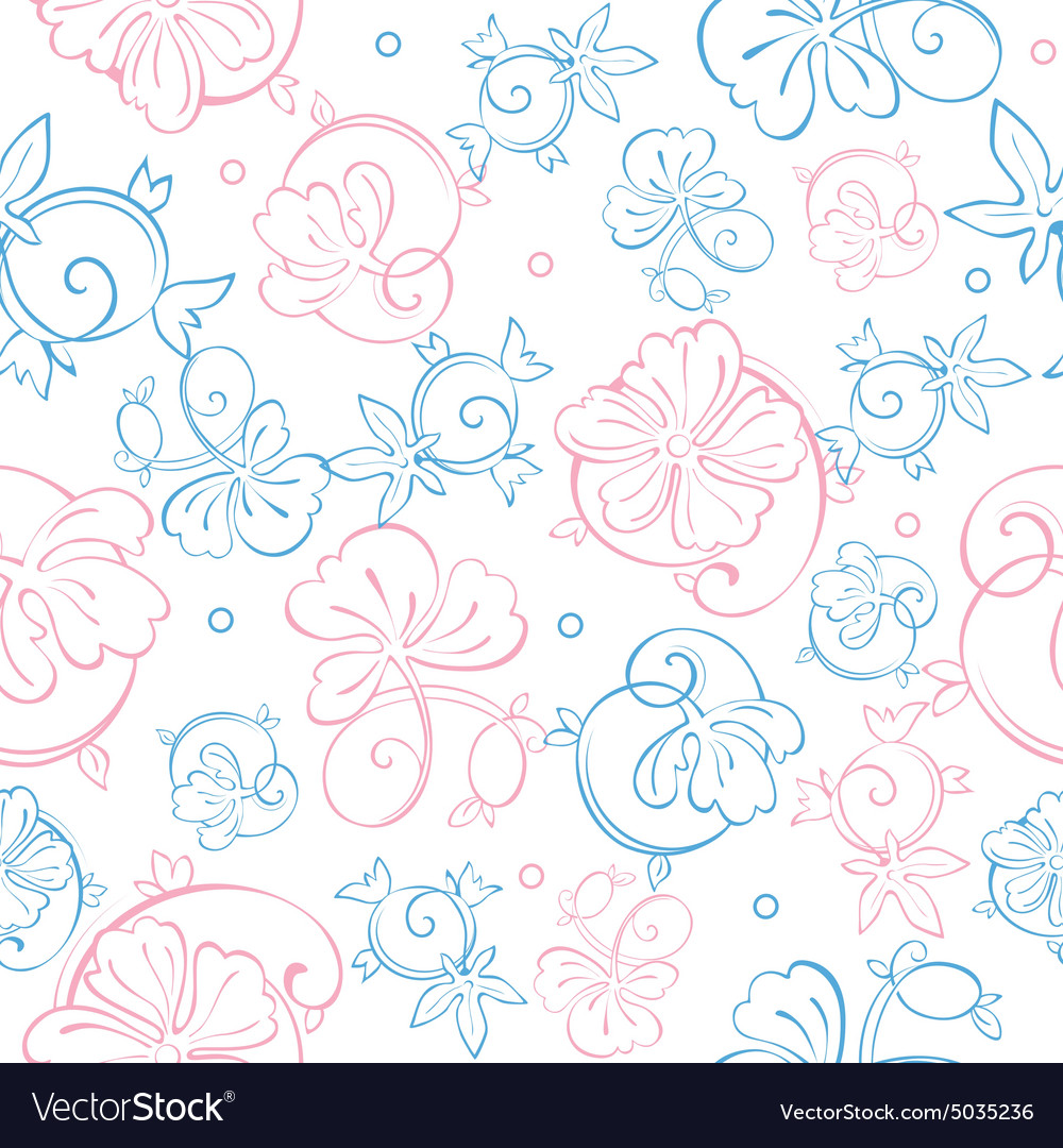 Pink Blue Pastel Floral Swirls Seamless Royalty Free Vector