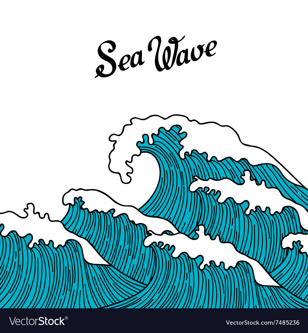 Sea background with abstract hand drawn waves
