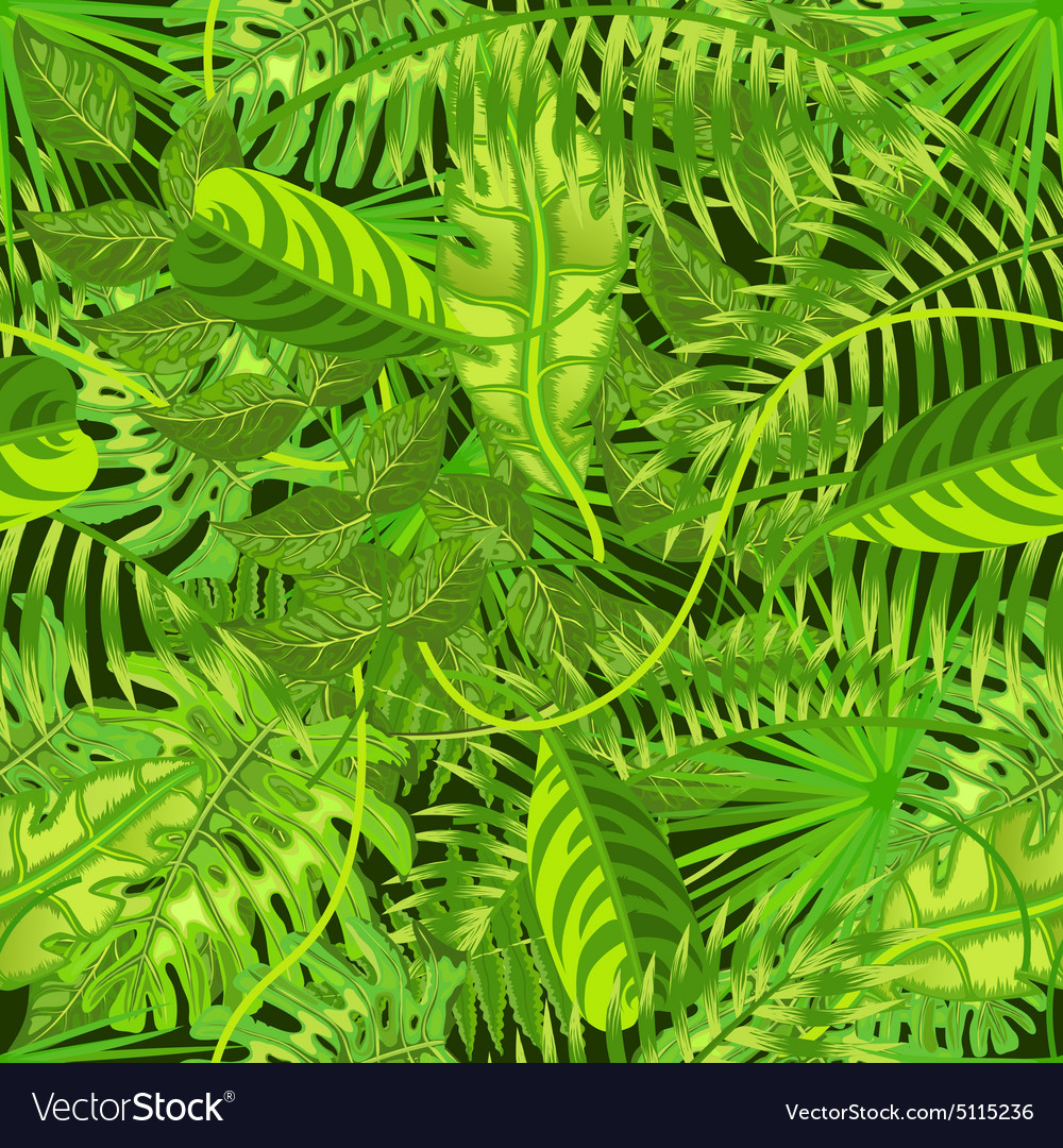 Seamless pattern with exotic tropical leaves