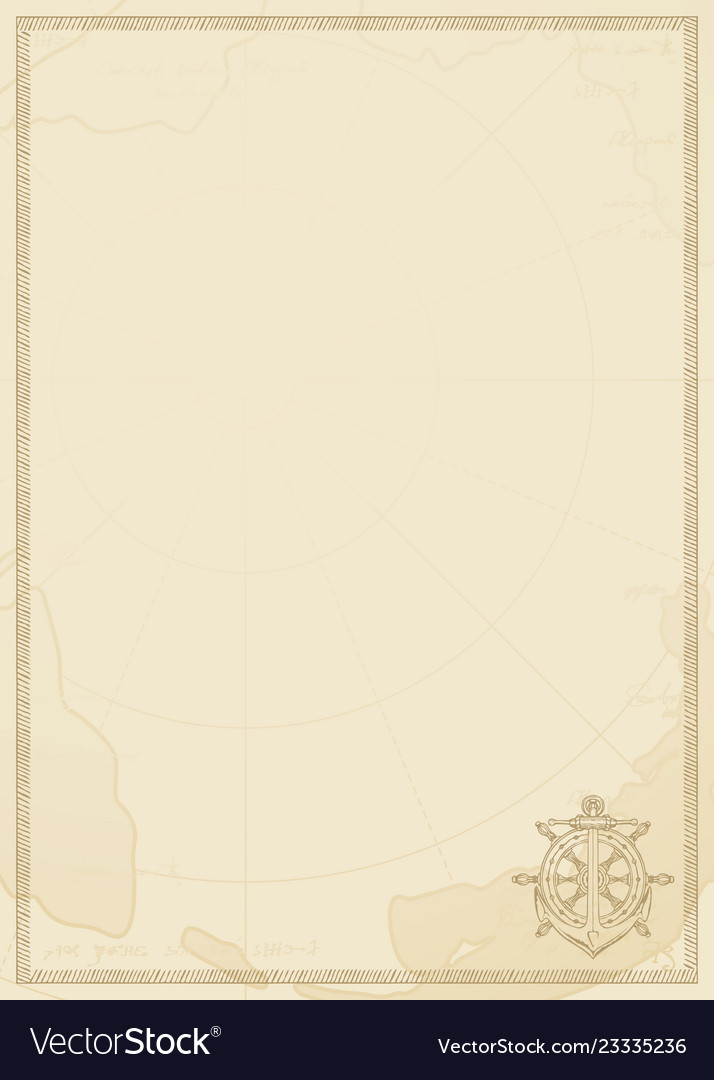 Travel background with anchor helm and old map Vector Image on