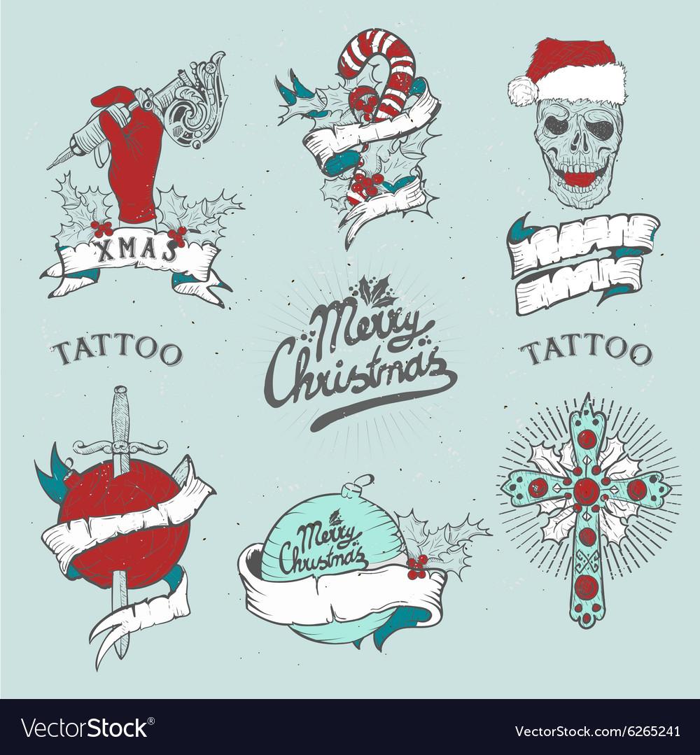 Christmas tattoo set