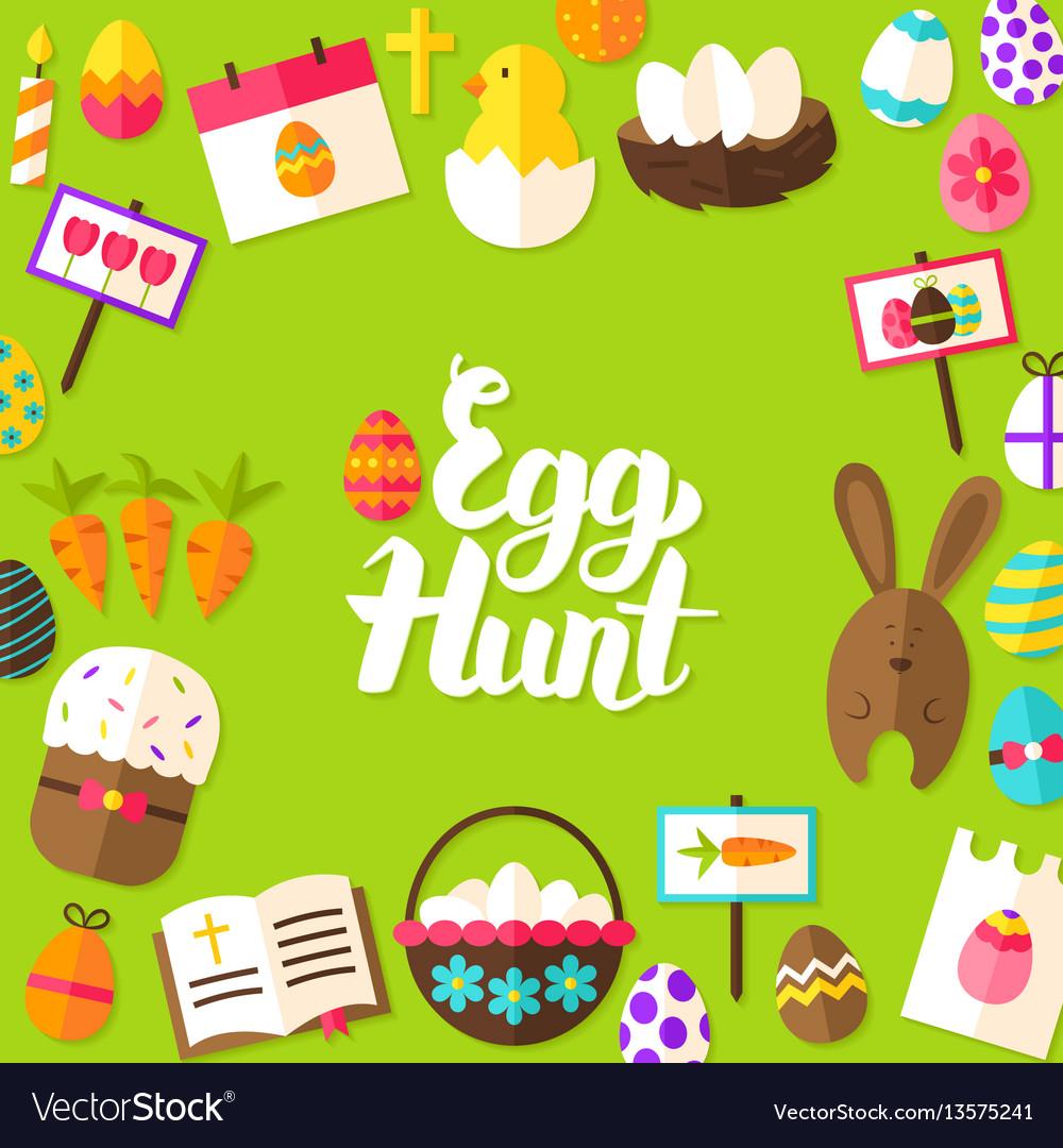 Egg hunt lettering postcard