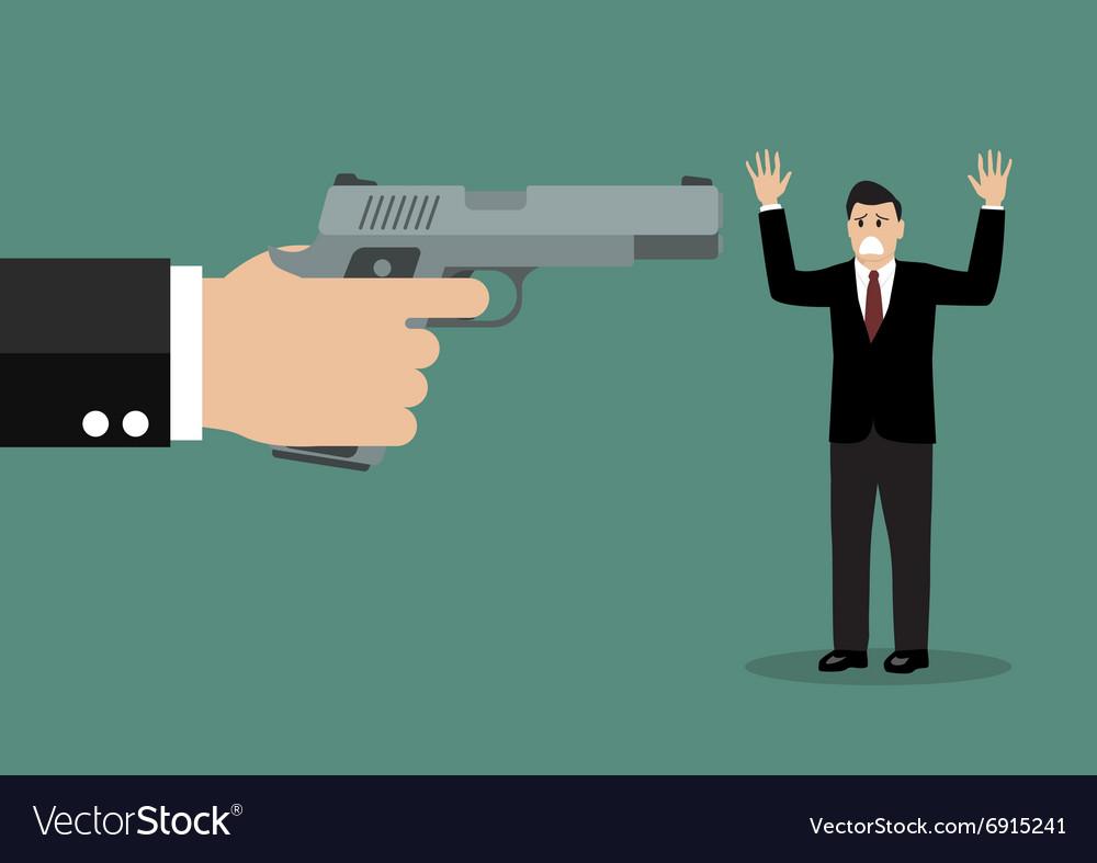 Hand with a handgun robs a businessman