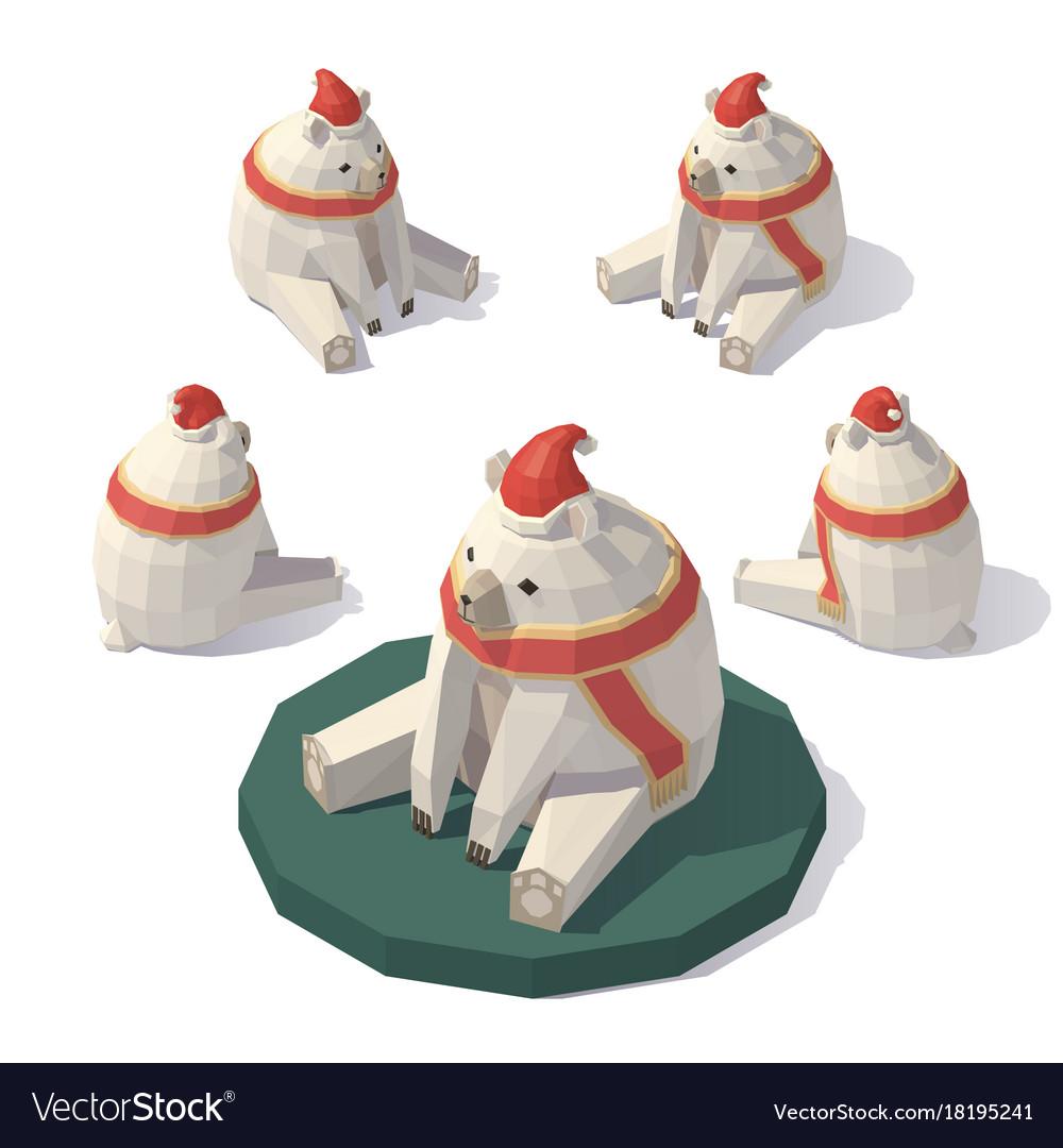 Low poly christmas polar bear