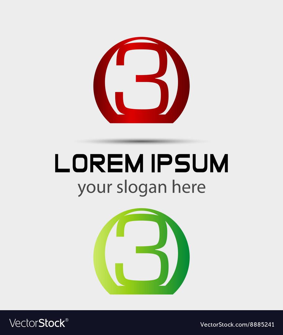 Number three 3 logo symbol design template element