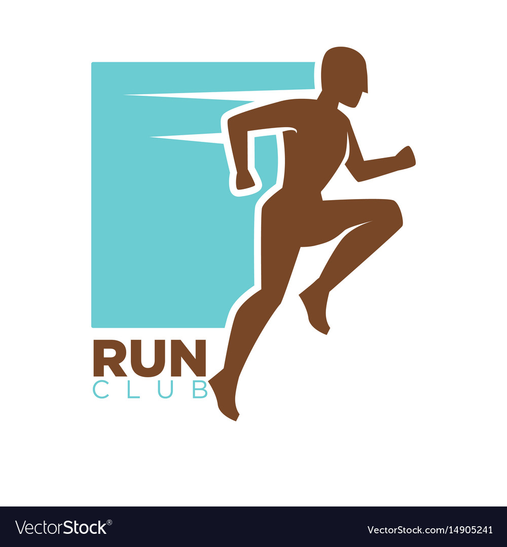 Run club logotype design with running man