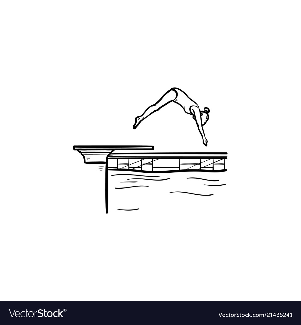 swimming pool female diving hand drawn outline vector image