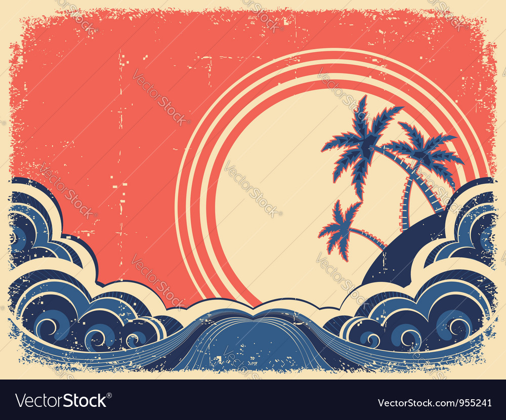 Tropical island with palms Grunge seascape poster